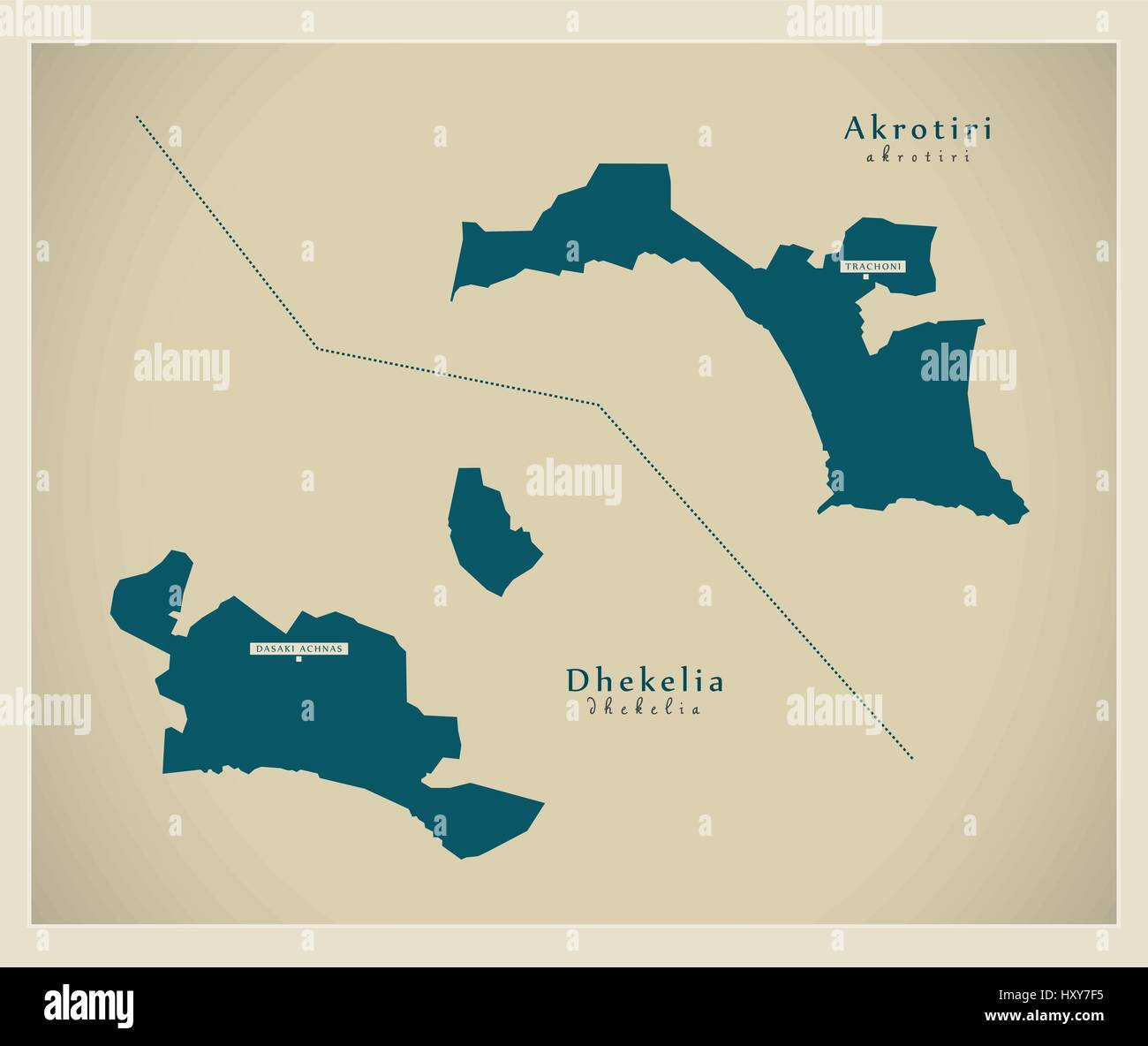 Modern Map Akrotiri and Dhekelia on Cyprus Stock Vector Art