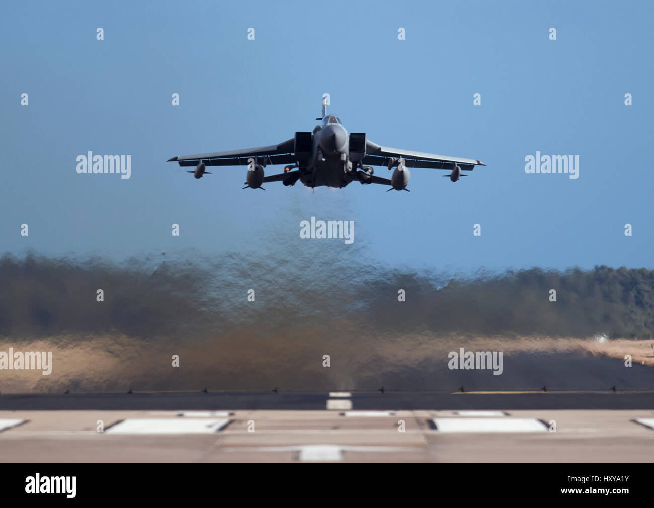 Panama Gr4 Tornado Twin jet engined Aircraft at low level takeoff from home base, RAF Lossiemouth Air Station, Morayshire - Stock Image
