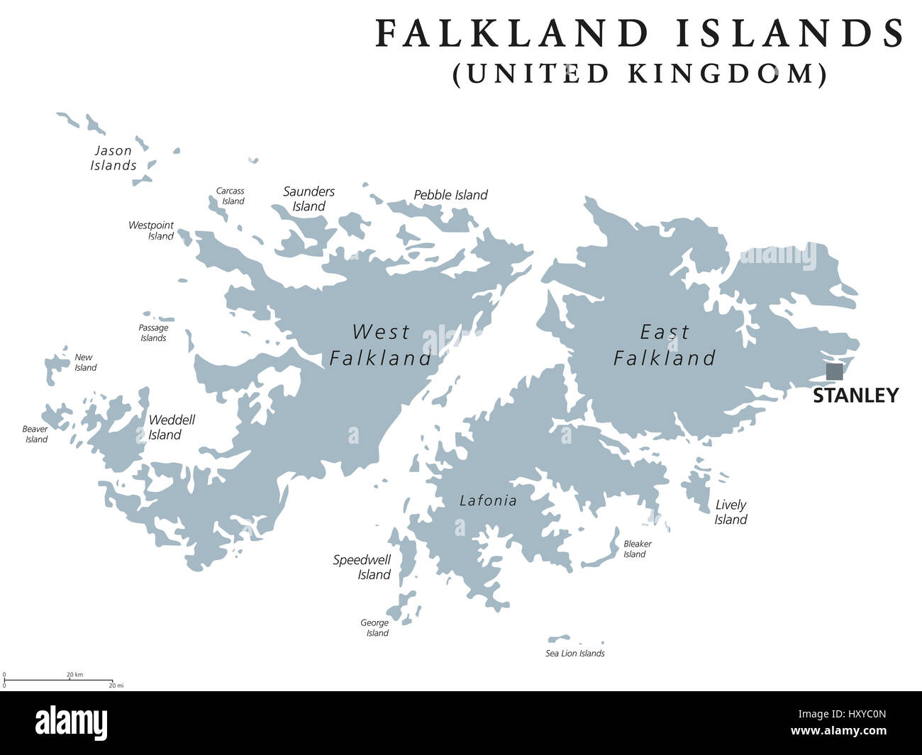 Map Of Uk Overseas Territories.Falkland Islands Political Map With Capital Stanley British
