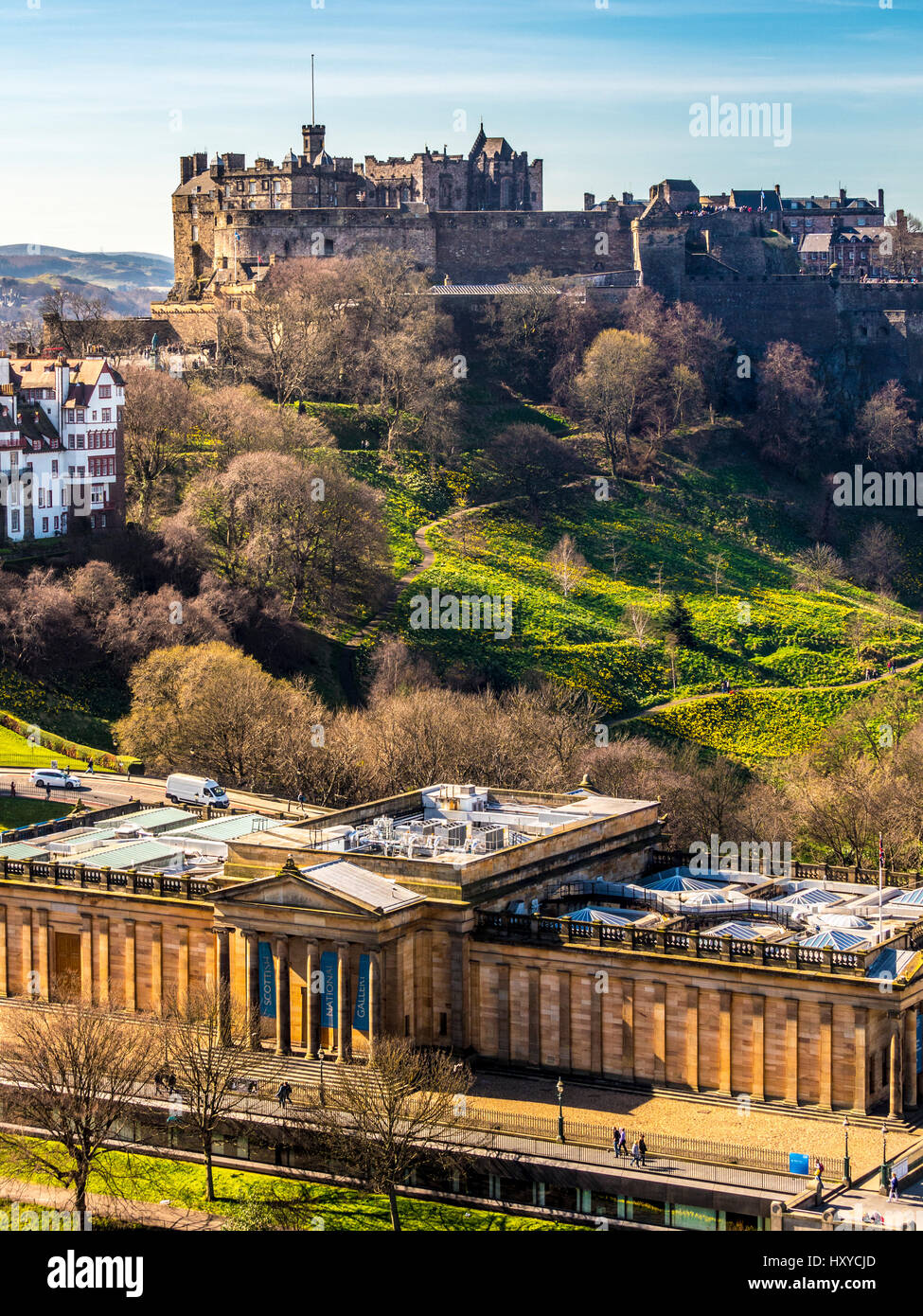 Edinburgh Castle. Scottish National Gallery, Edinburgh, Scotland, UK. - Stock Image