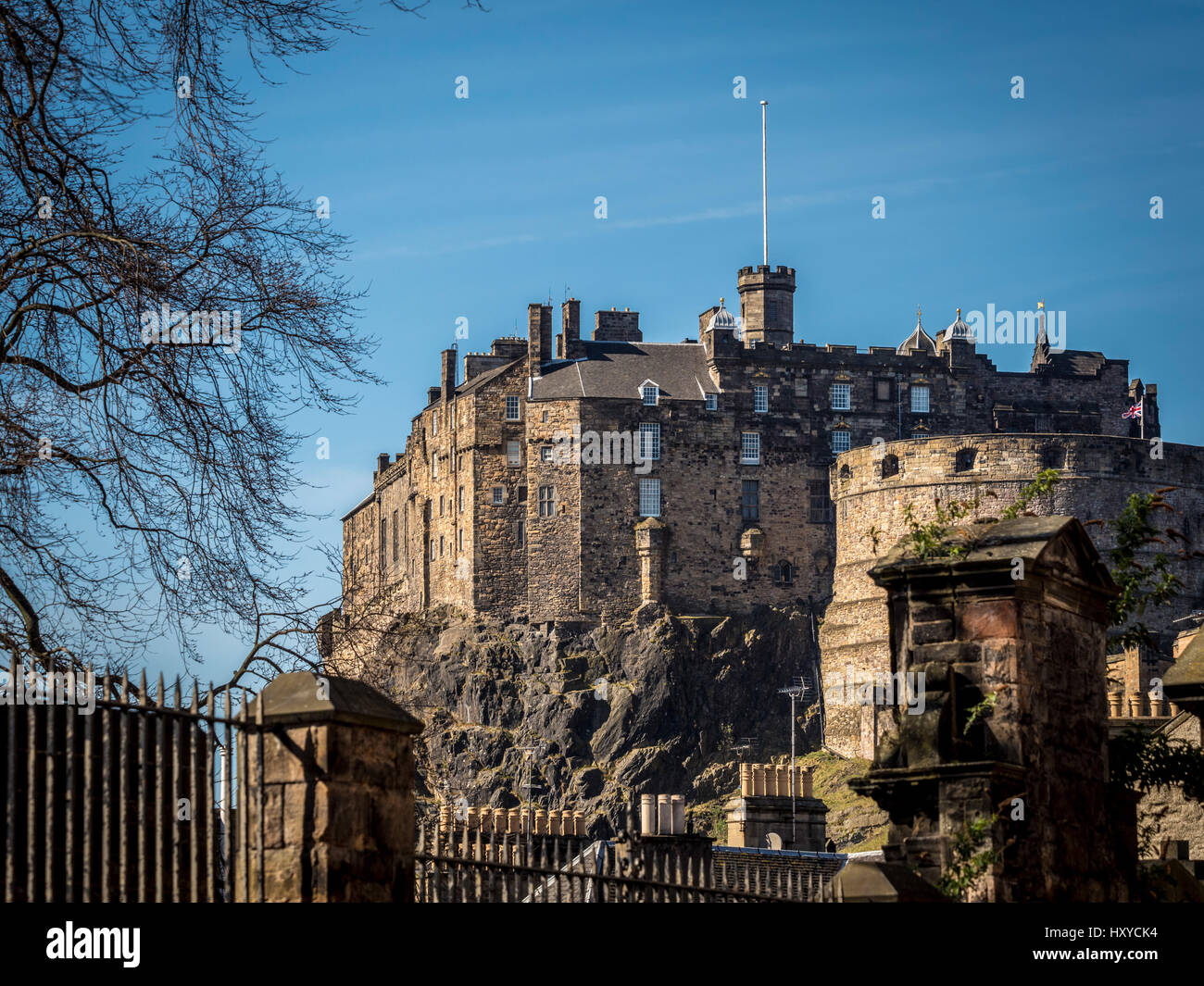 View from Greyfriars Kirkyard of Edinburgh Castle, Edinburgh, Scotland, UK. Stock Photo