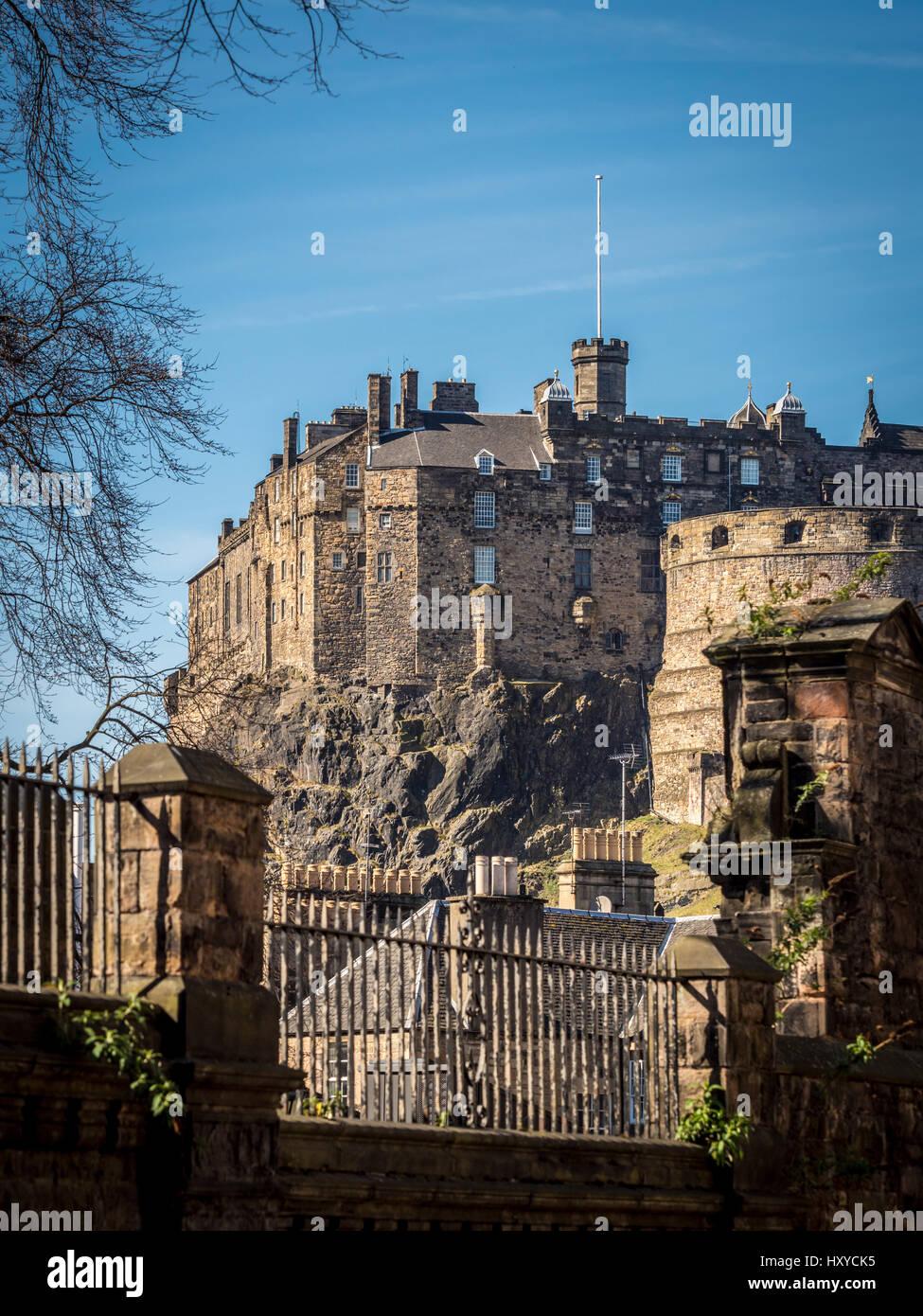 View from Greyfriars Kirkyard of Edinburgh Castle, Edinburgh, Scotland, UK. Stock Photo