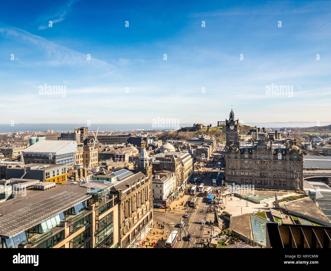View looking East down Princes Street, Edinburgh towards the Balmoral Hotel and Calton hill with Scottish National Stock Photo