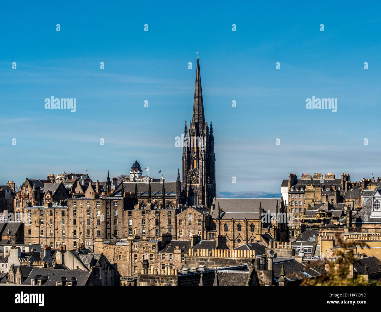 Spire of The Hub, the offices and a performance space for the Edinburgh International Festival Stock Photo