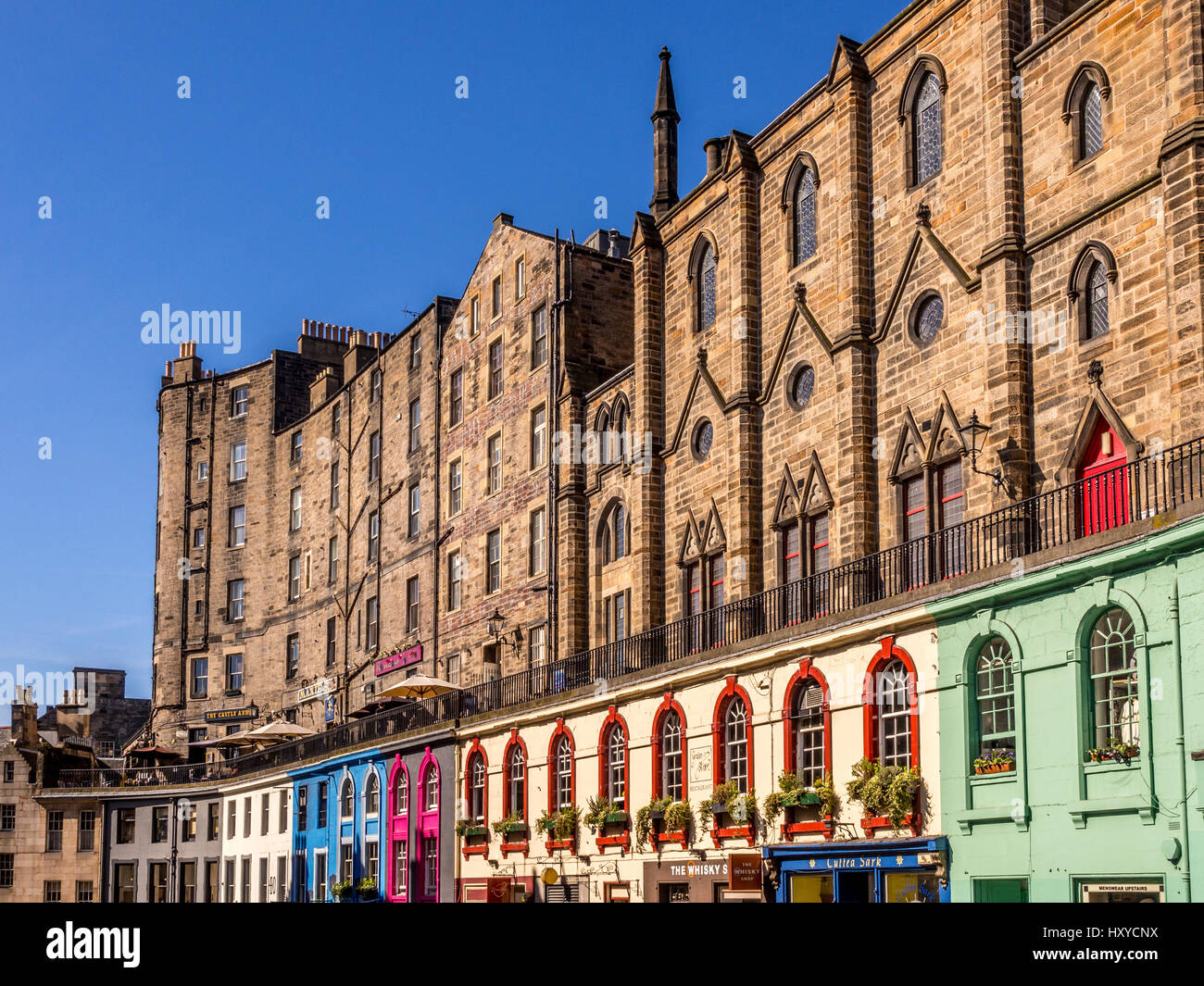Colourful shop fronts in Victoria Street, part of the old town, Edinburgh, Scotland. - Stock Image