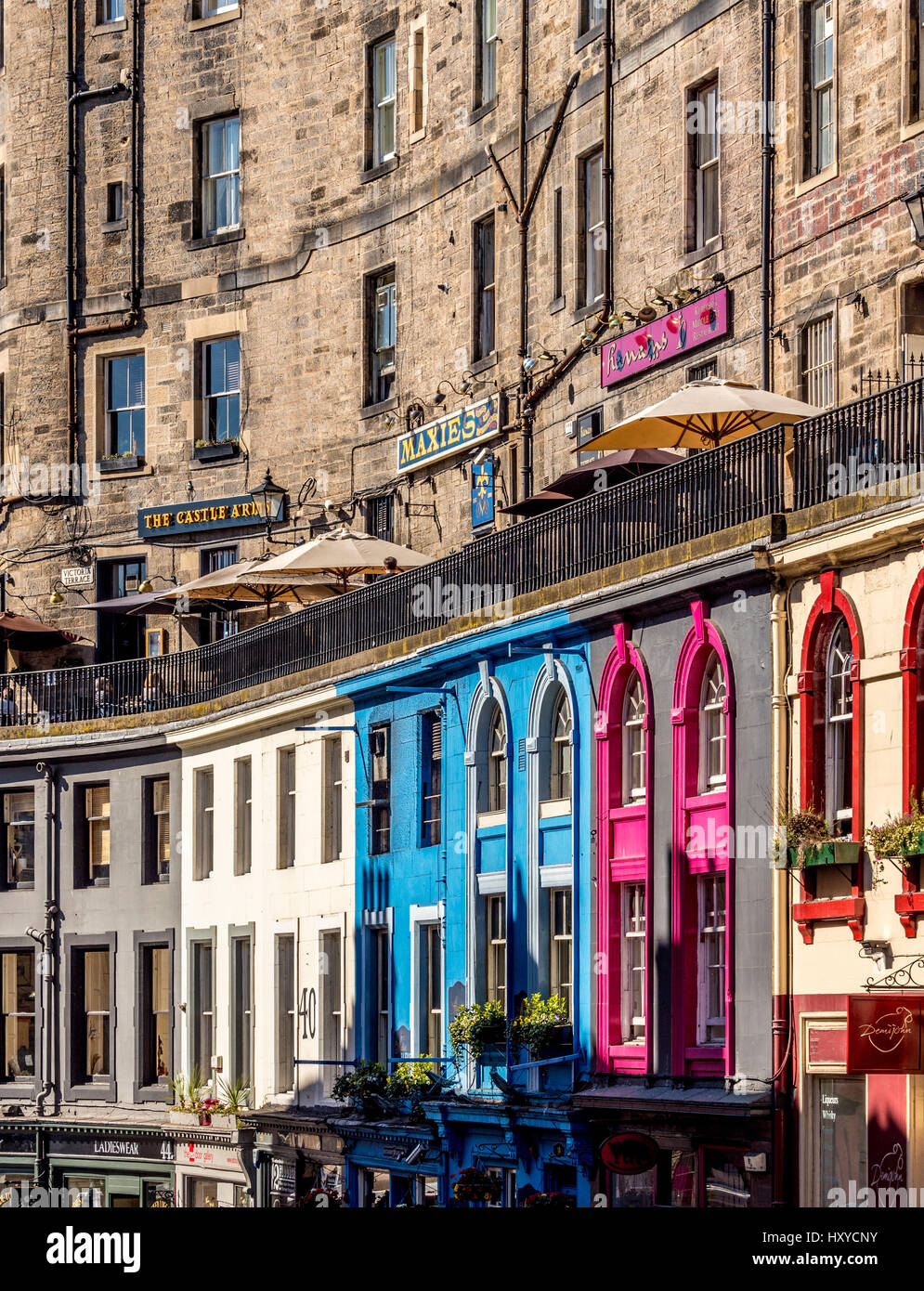 Colourful shop fronts in Victoria Street, part of the old town, Edinburgh, Scotland. Stock Photo