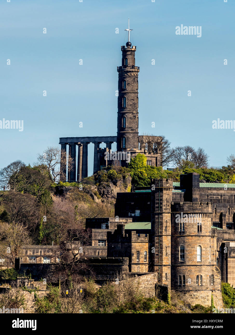 The Nelson Monument and National Monument of Scotland with the Governors House, Calton Hill, Edinburgh, Scotland. Stock Photo