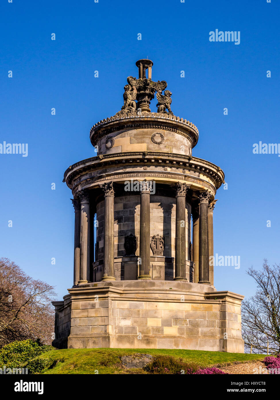The Burns monument. A small, circular temple in the Neo-Greek style typical of Georgian era Edinburgh, constructed Stock Photo