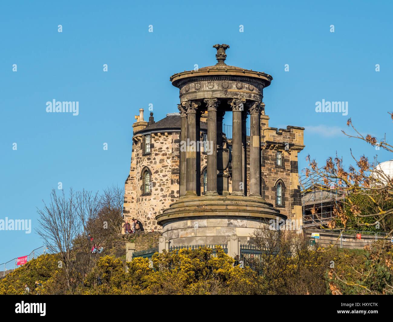 The Dugald Stewart Monument, Calton Hill, Edinburgh. A memorial to the Scottish philosopher Dugald Stewart (1753–1828). Stock Photo