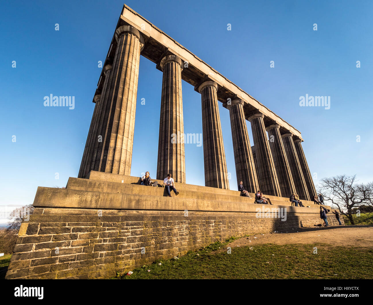 National Monument of Scotland, Calton Hill, Edinburgh, Scotland. Stock Photo