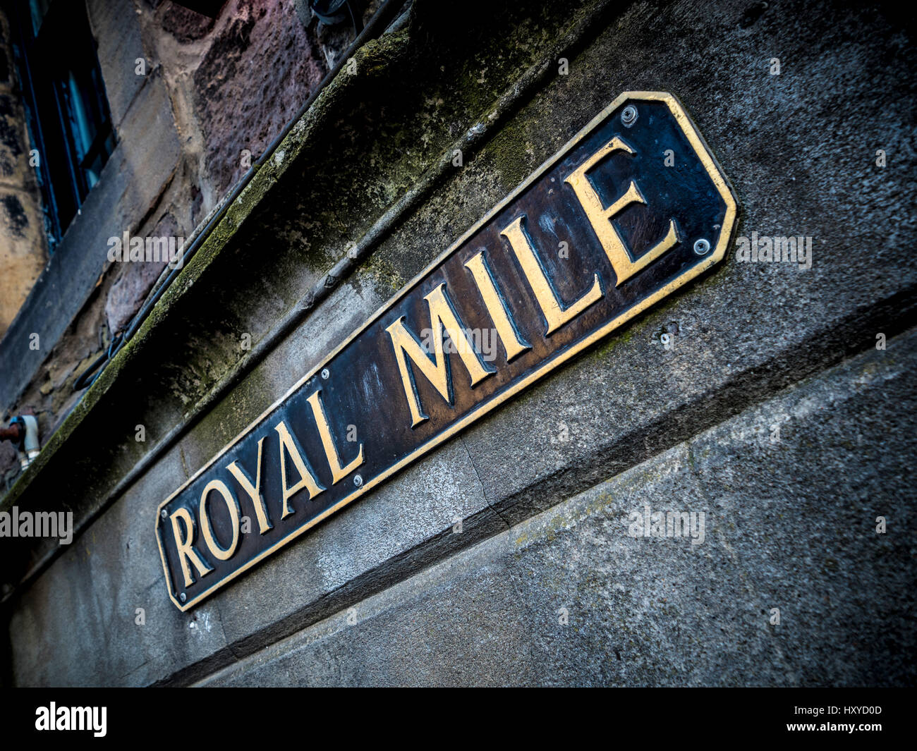 Royal Mile sign, Edinburgh, Scotland. - Stock Image