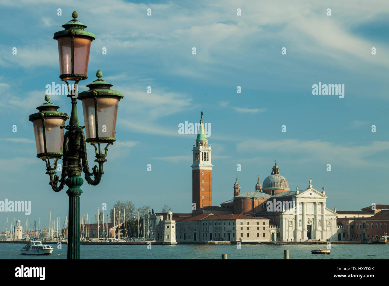 Spring afternoon in Venice, Italy. San Giorgio Maggiore church in the distance. - Stock Image