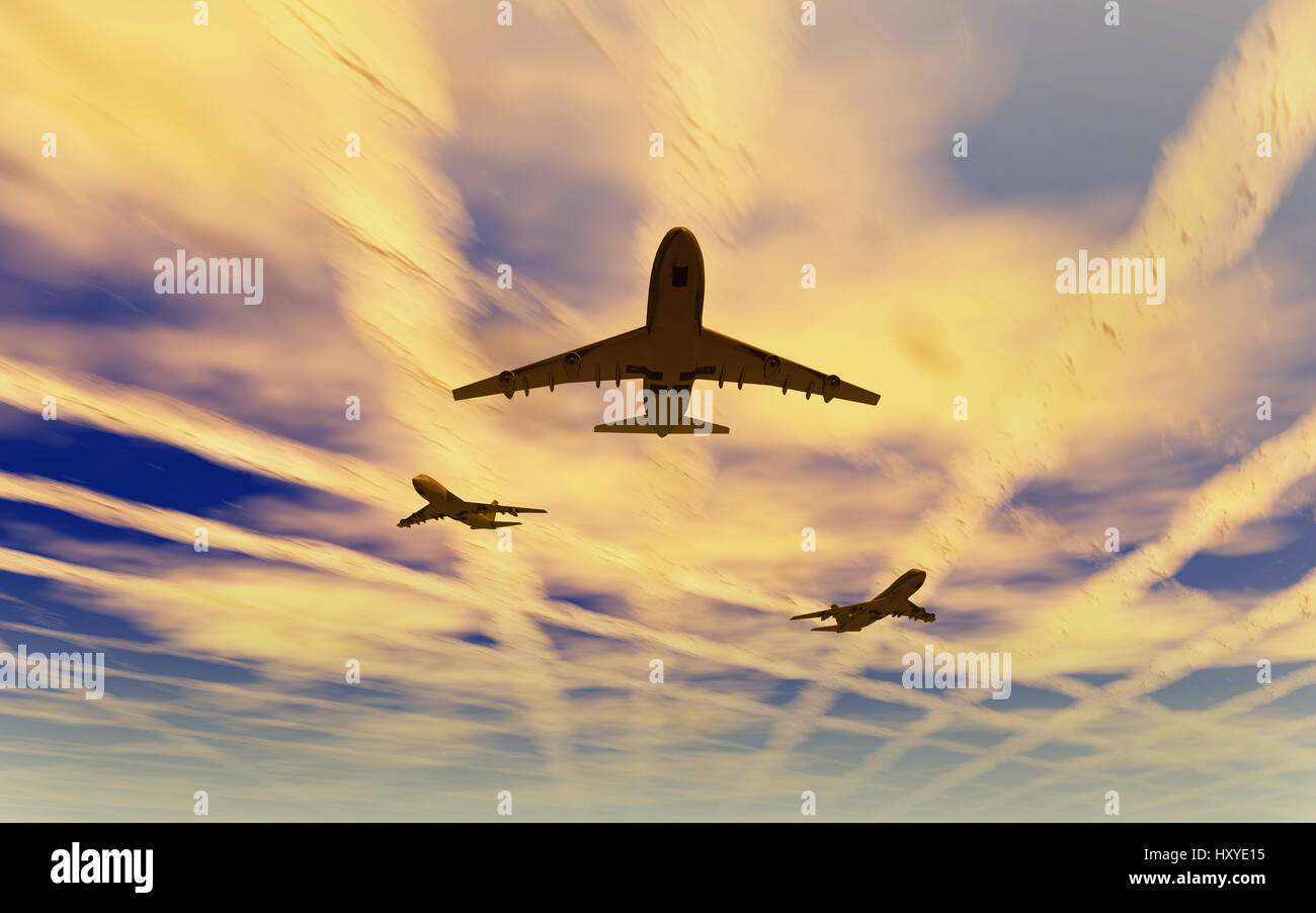 Boeing 747 Jets Spreading Chemtrails High Up In The Earths Atmosphere - Stock Image