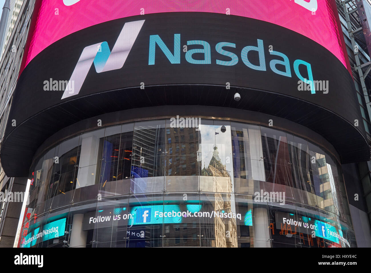 Nasdaq Marketsite in 4 Times Square in New York. This is the marketing presence of the Nasdaq stock market. - Stock Image