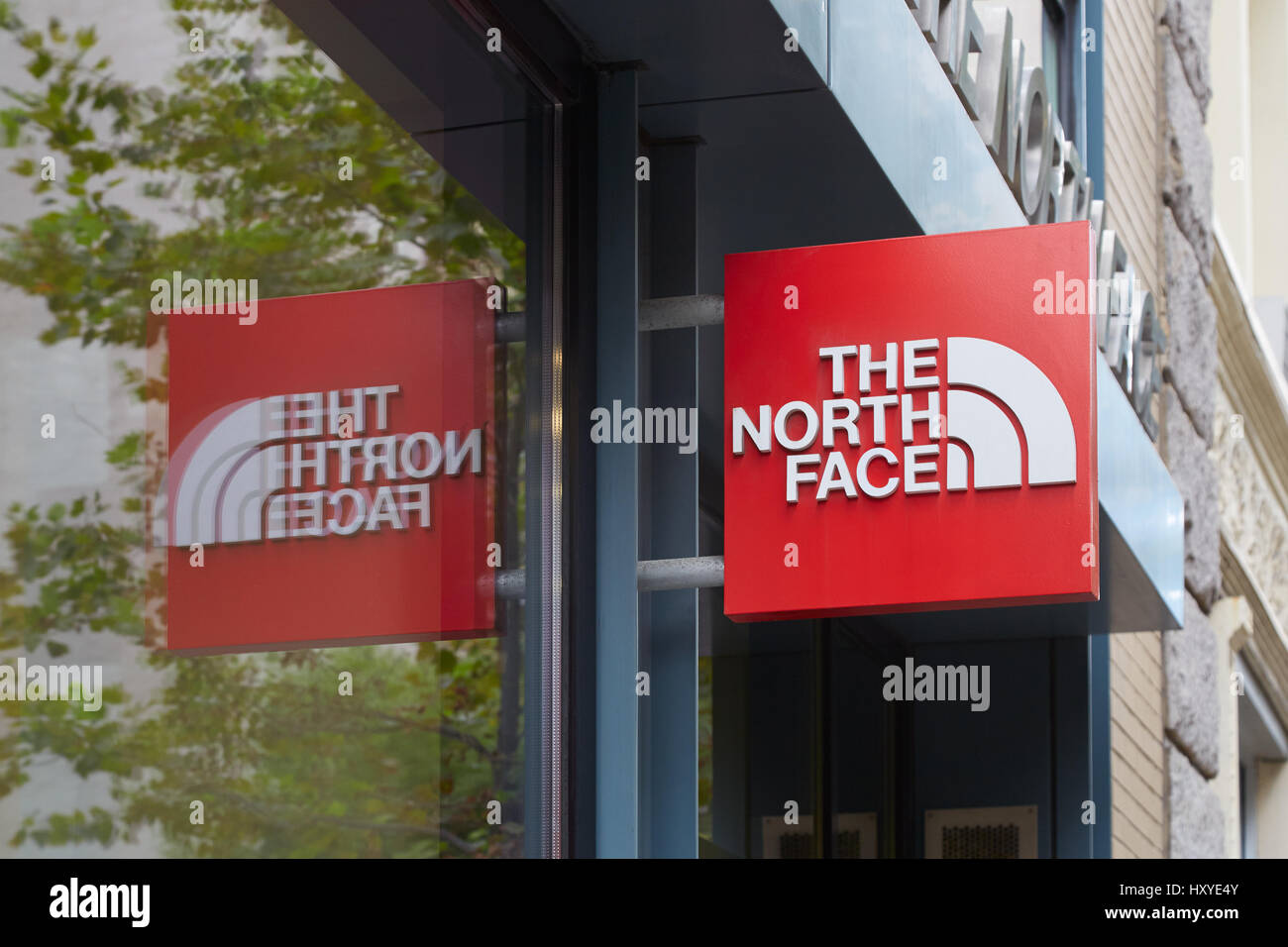 The North Face Red Store Sign In Wooster Street In New York The