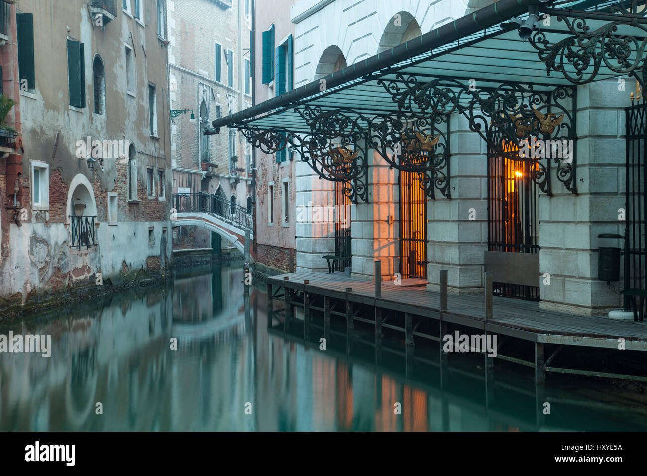 Foggy morning on a canal in sestiere of San Marco, Venice, Italy. - Stock Image