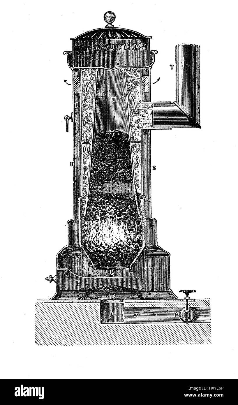 Vintage fuel oven with vertical section, XIX century - Stock Image
