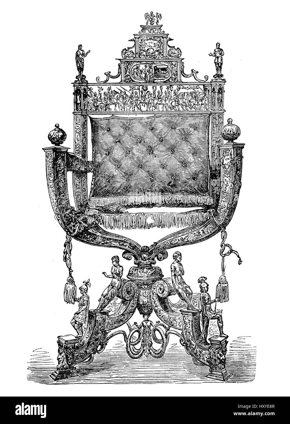 Baroque armchair, present of Augsburg  German city to Holy Roman Emperor Rudolf II prince of Austria, XVI century - Stock Image