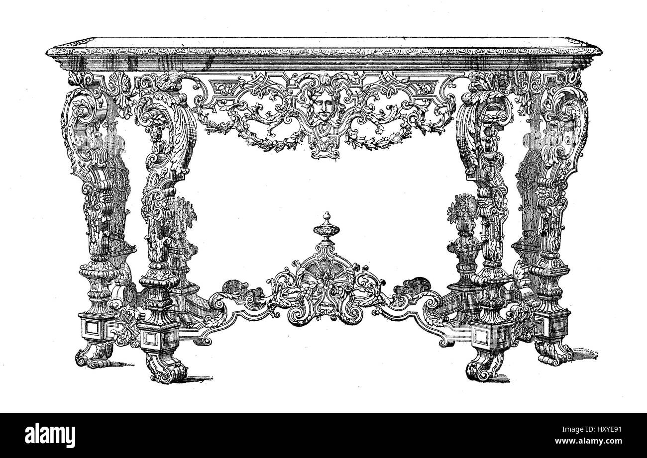 Attrayant Vintage Engraving Of Rococo Console Louis XIV Furniture Style, XVII Century