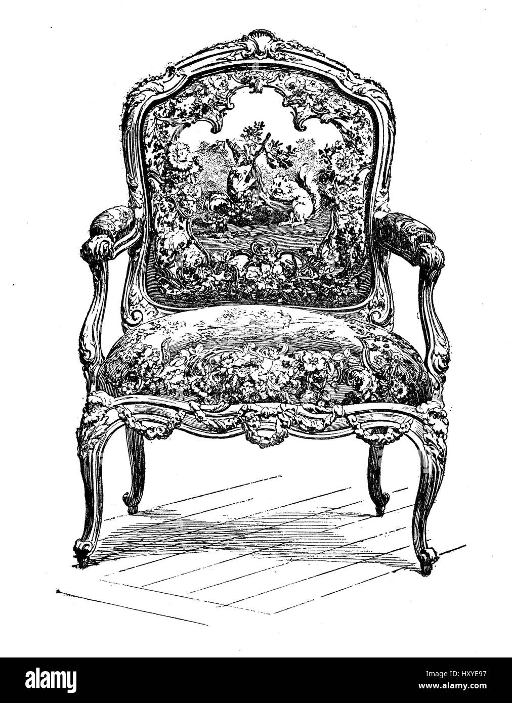 Vintage engraving of rococo style upholstered chair, XVII century - Vintage Engraving Of Rococo Style Upholstered Chair, XVII Century