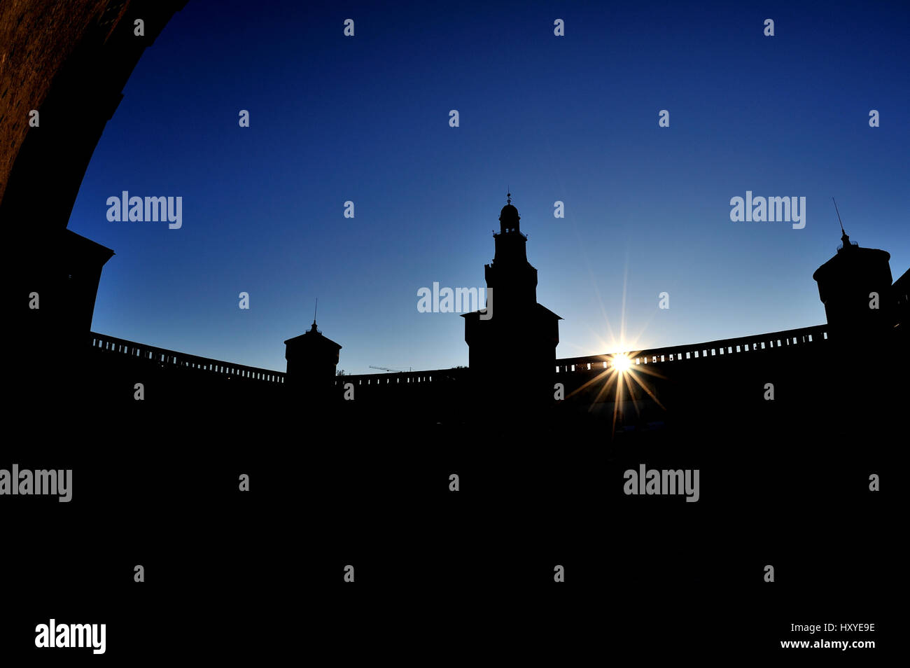 Milan Castello Sforzesco castle, Milano, Italy - Stock Image