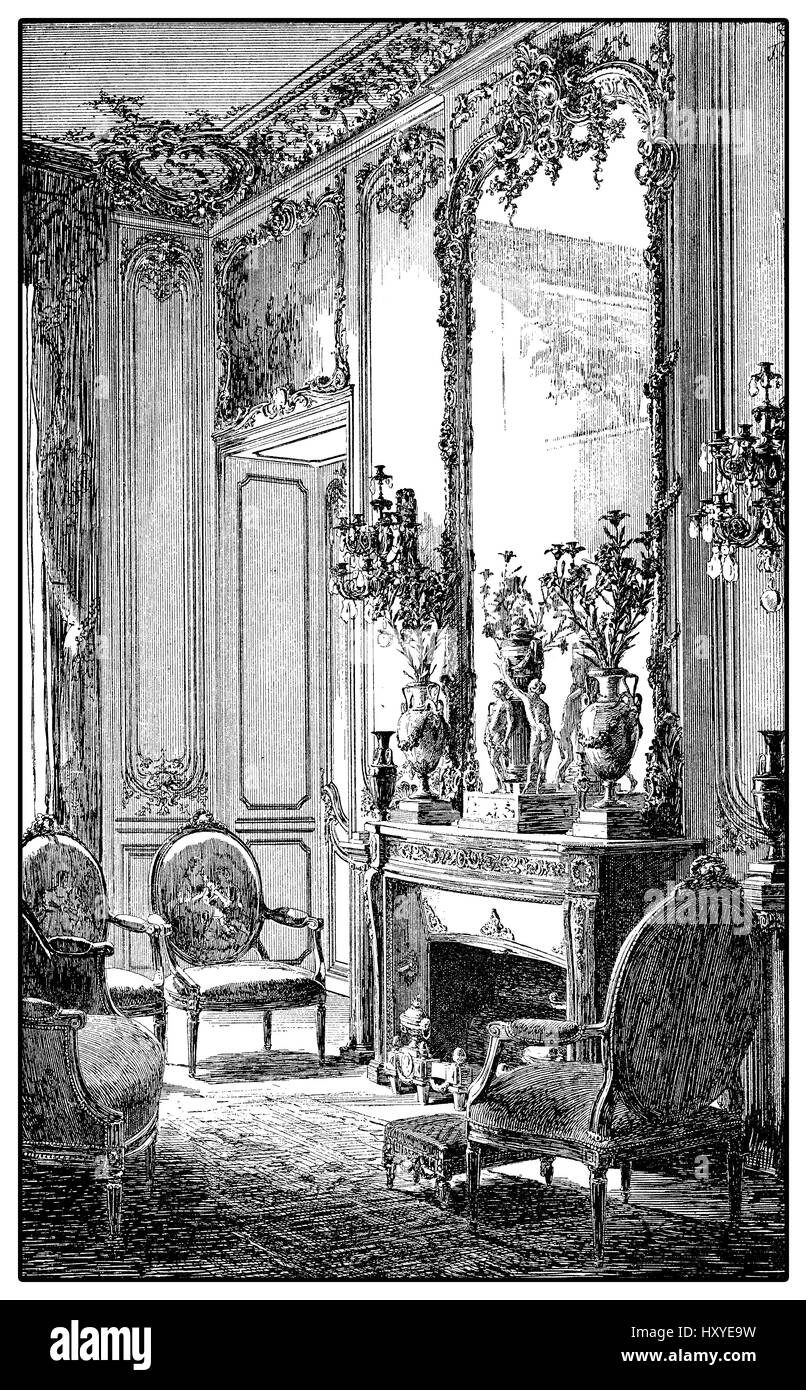Vintage engraving of baroque style richly decorated parlor with fireplace,mirror and upholstered chairs, XVII century - Stock Image