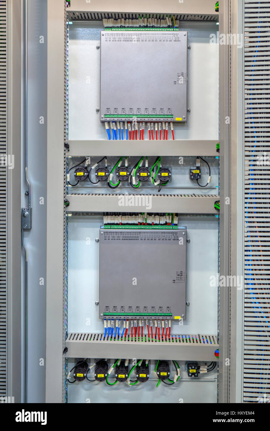 Industrial Electrical Panel With Electronic Devices For Relay Stock Wiring Protection And Process Controlling Closeup