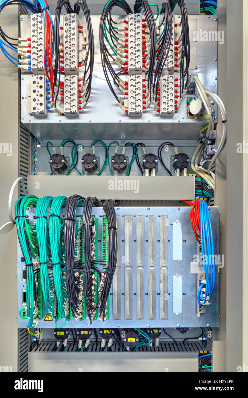 industrial electrical panel with electronic devices for relay stock rh alamy com industrial electrical wiring color code industrial electrical wiring