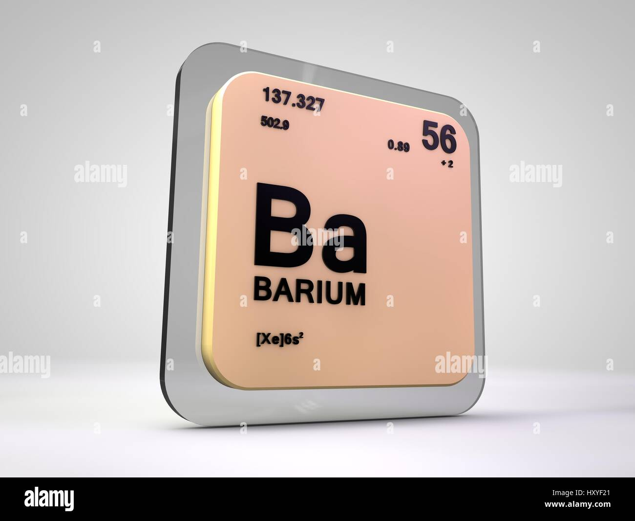 Barium - Ba - chemical element periodic table 3d render - Stock Image