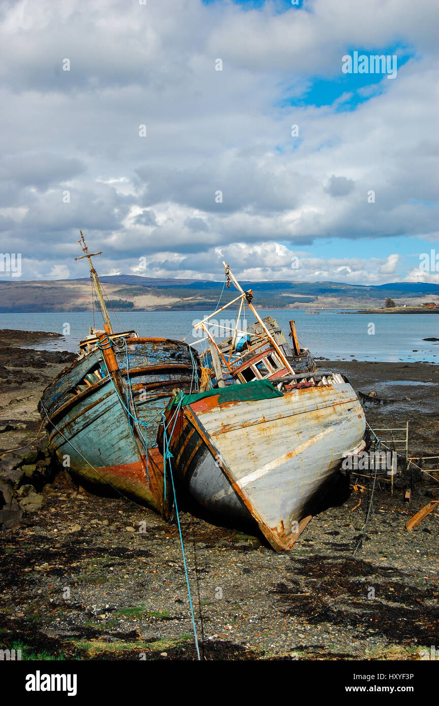 Picture of Two Abandoned Boats on Isle of Mull - Stock Image