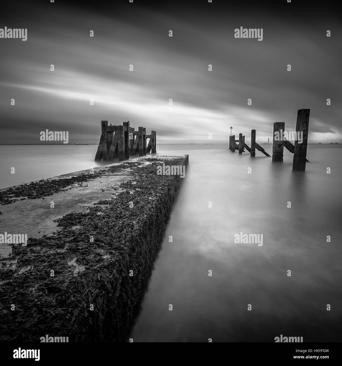 Shoebury jetty pier, essex Stock Photo