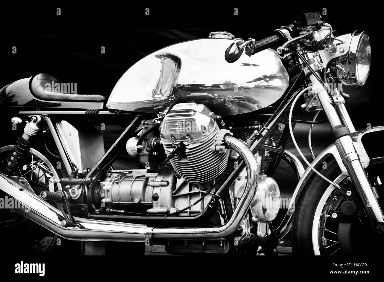 Moto Guzzi Cafe Racer Motorcycle Classic Italian Black And White