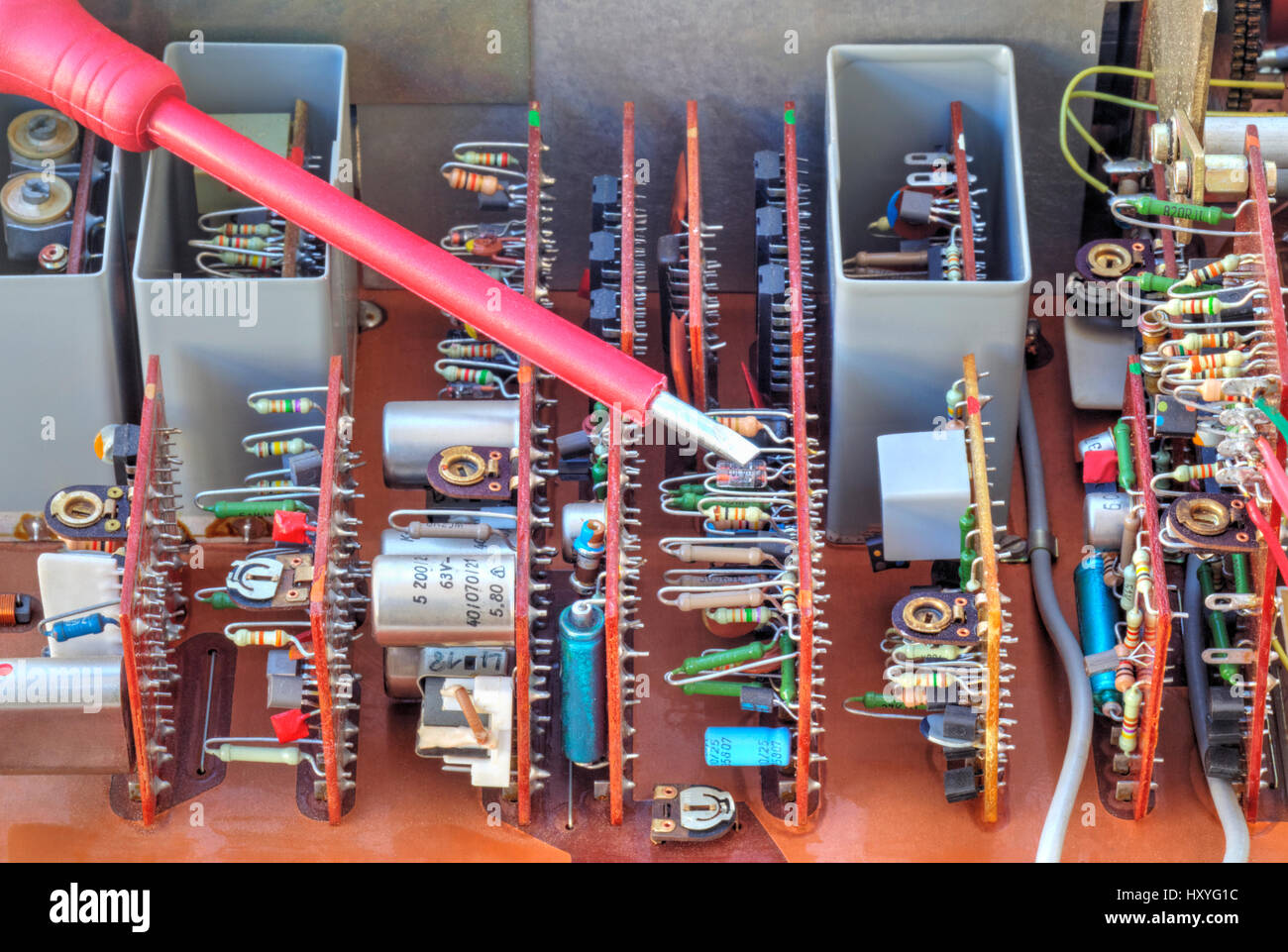 Switch Board And Screw Stock Photos X Y G Wiring Diagram Electronic Device With Measuring Scales Closeup Image