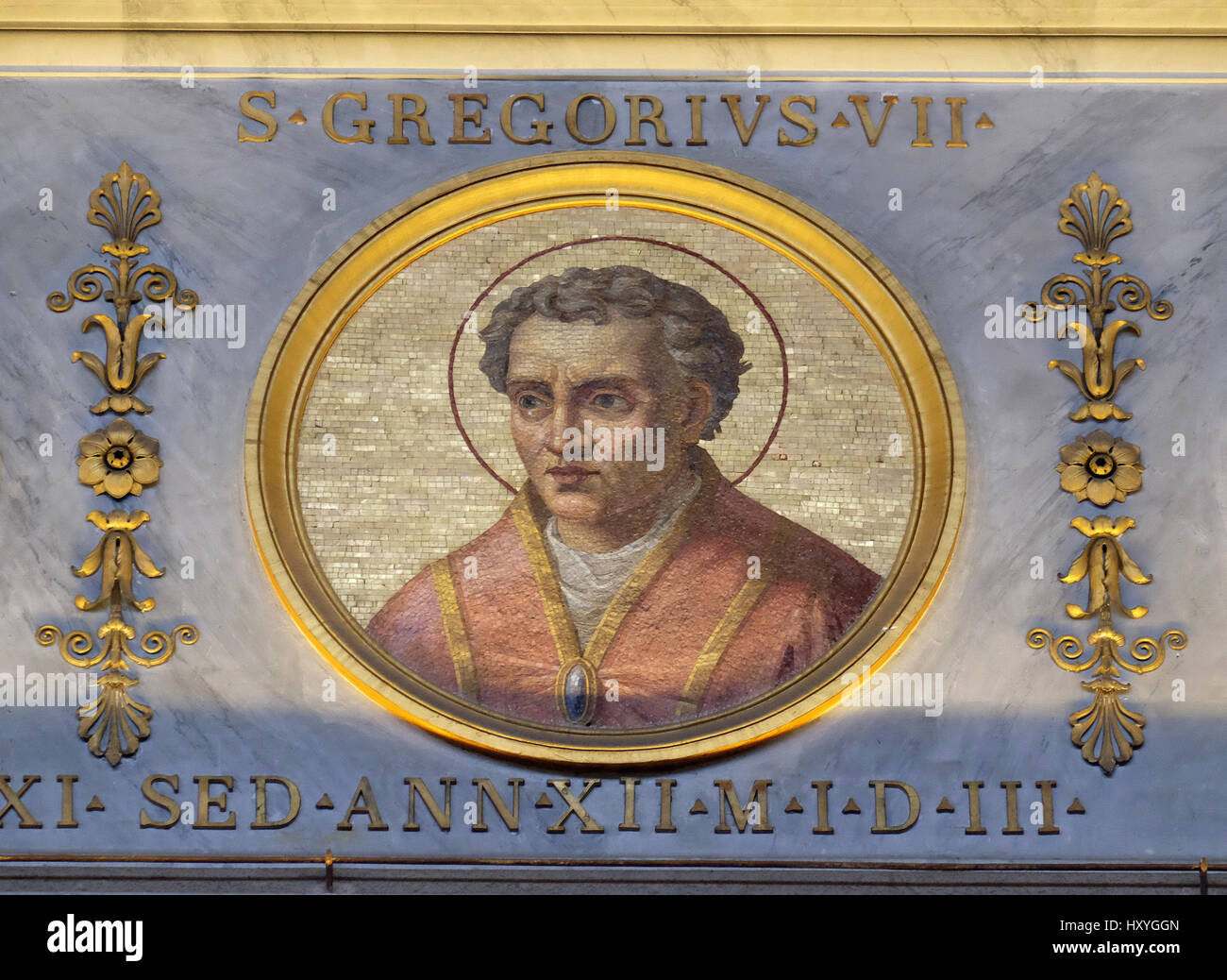The icon on the dome with the image of Gregory VII Latin: Gregorius VII, basilica of Saint Paul Outside the Walls, - Stock Image