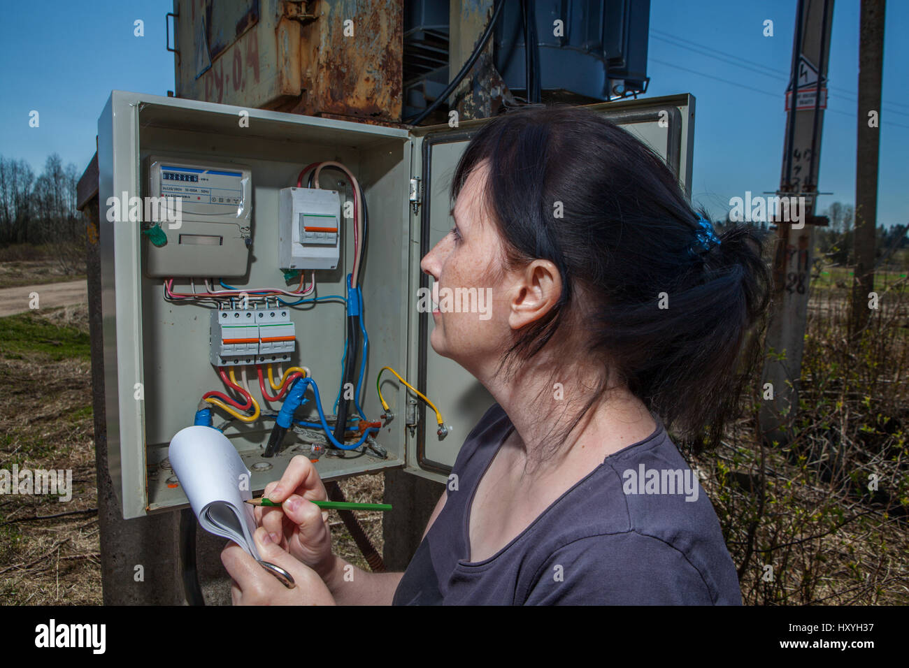 Old Switchgear Stock Photos Images Alamy Free Photography Electric Meter Messy Electrical Installation Woman Technician Reading The Electricity To Check Consumption Standing Near Power