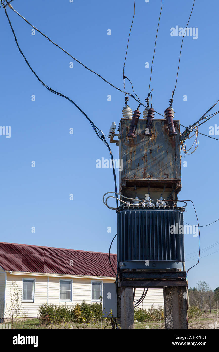 Electrical Power Distribution Transformer near the ... on