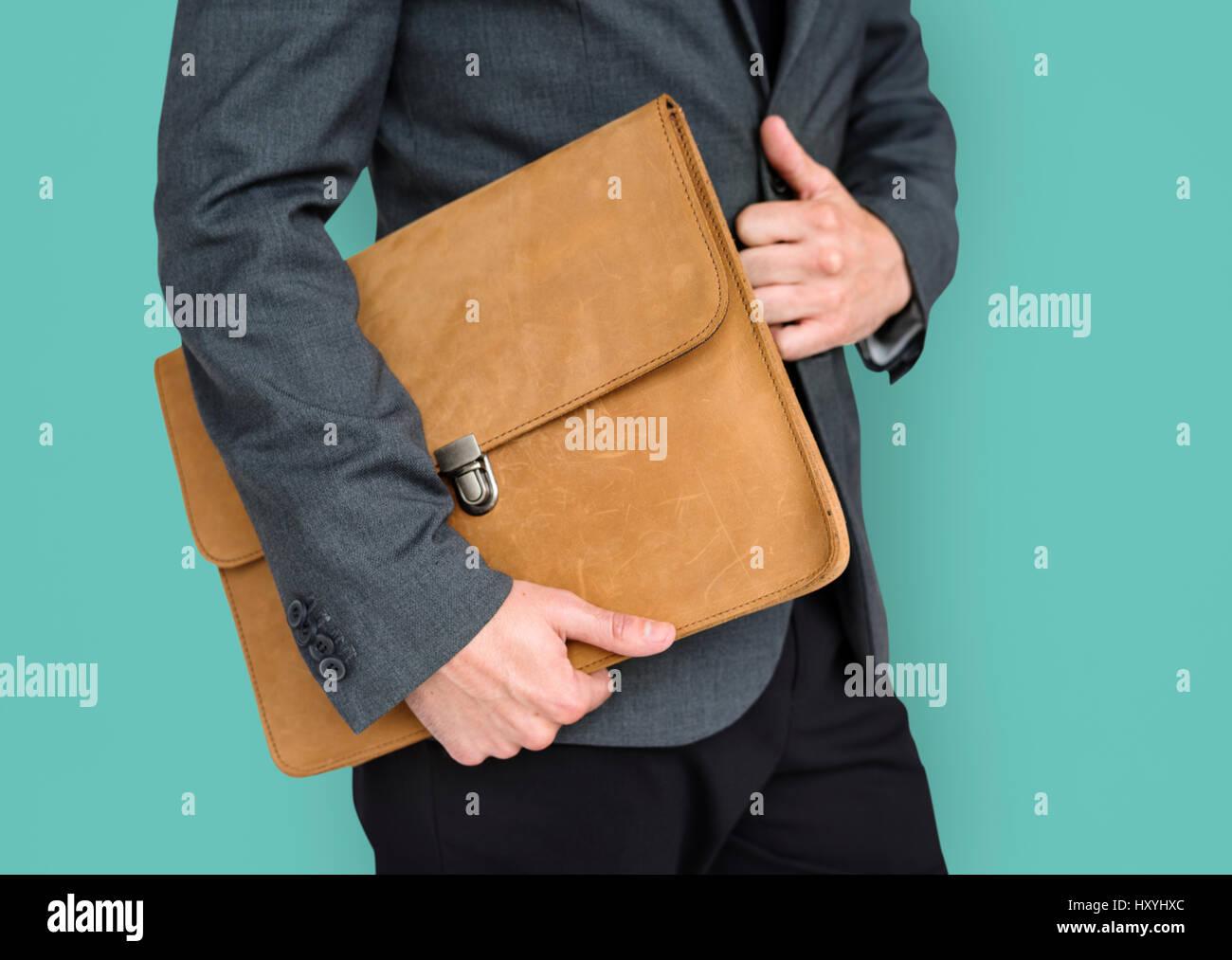 Formal Wear Brown Folder Bag Concept - Stock Image