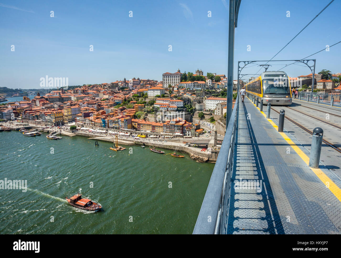 Portugal, Region Norte, Porto, view of the Douro River and the Ribeira riverfront from Dom Luís I Bridge - Stock Image