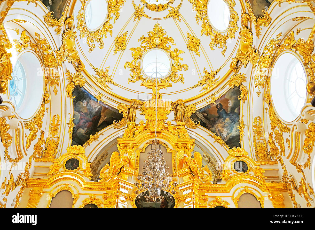 Hermitage gold gilded room restored in 1960s. - Stock Image