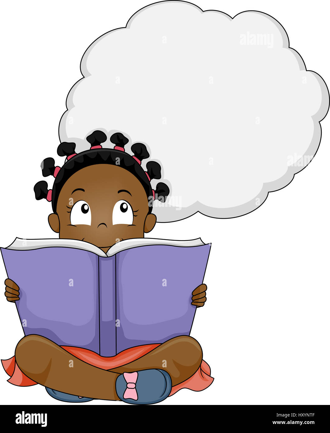 Illustration of a Little Girl Thinking While Reading a ...