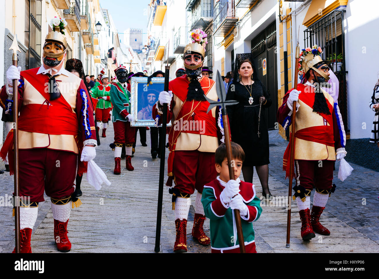 Traditional Holy Week procession. Friday morning. Alcalá La Real. Jaén. Andalusia. Spain - Stock Image