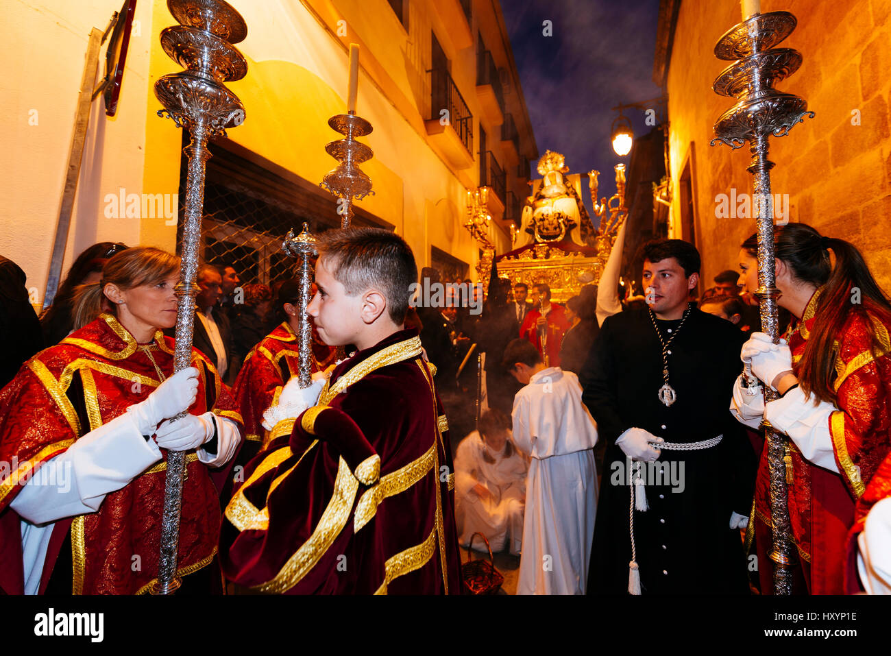 Brotherhood of Our Lady of Sorrows. Good Friday procession. Alcalá La Real. Jaén. Andalusia. Spain - Stock Image