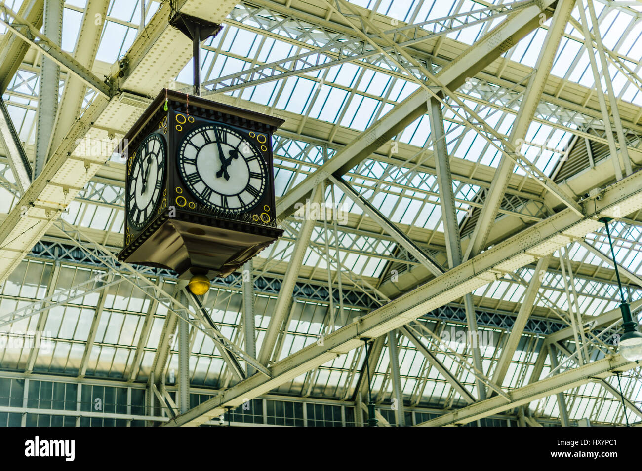 Large Clock in Glasgow's Central Station Train Station Stock Photo