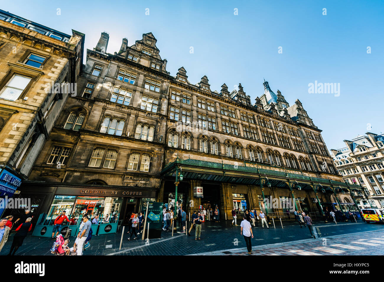 Commuters Outside Glasgow Central Station on Gordon Street in Glasgow - Stock Image