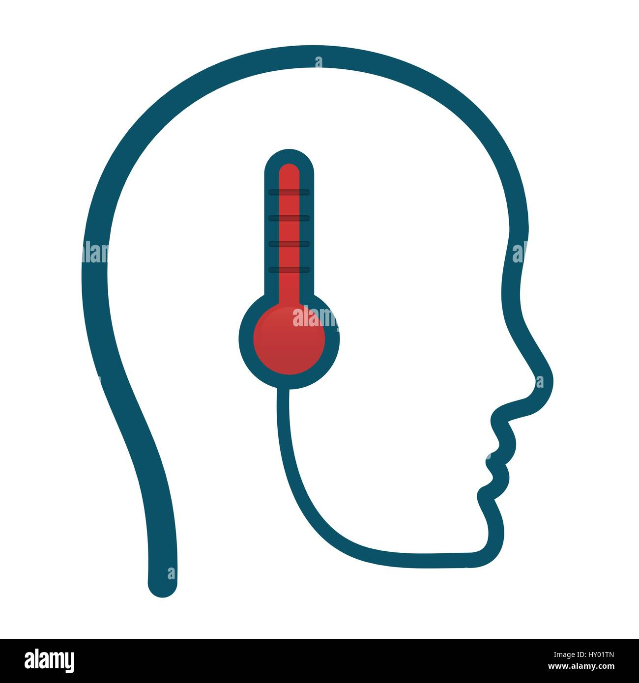 head think temperature thermometer - Stock Image