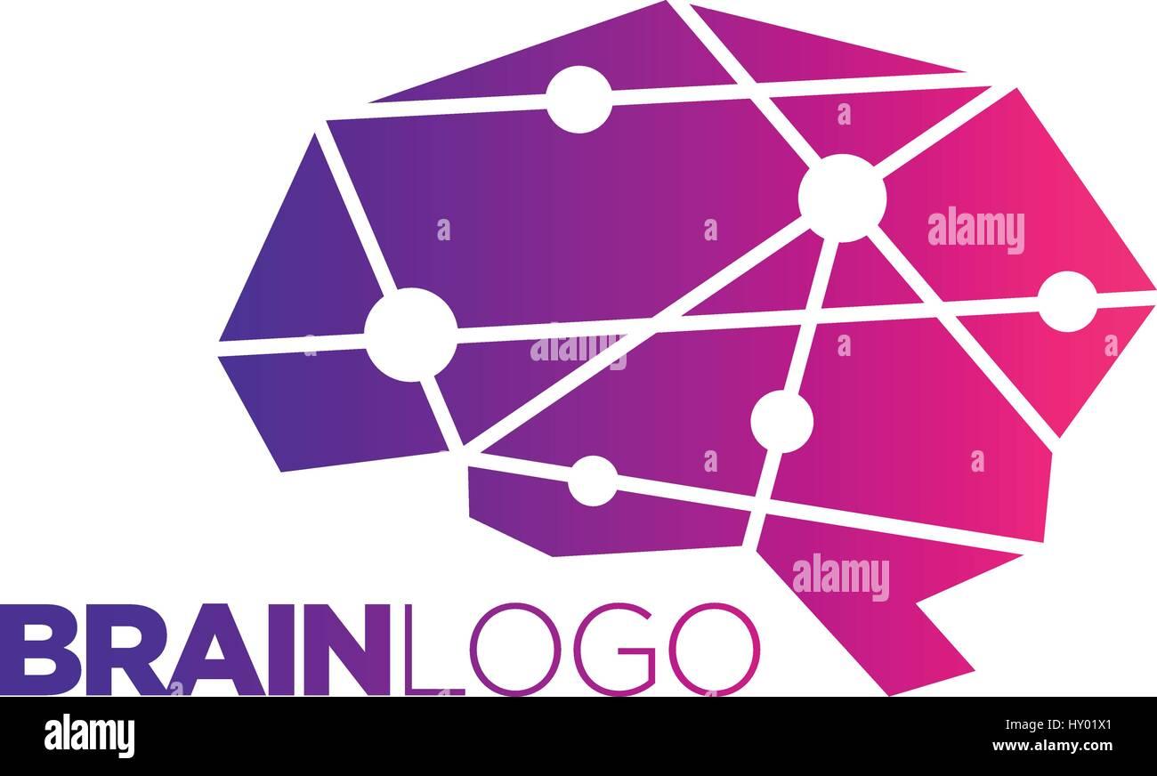 Brain Symbol illustration, Abstract Polygon design - Stock Image
