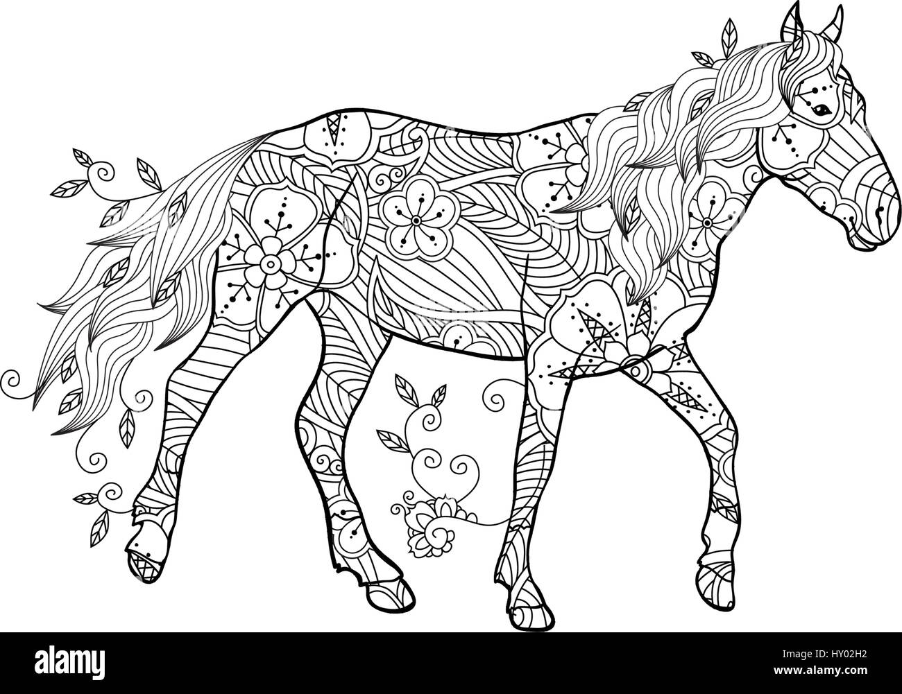 coloring page in zentangle inspired style running horse ornate by stock vector art illustration vector image 137070334 alamy - Coloring Page Zentangle