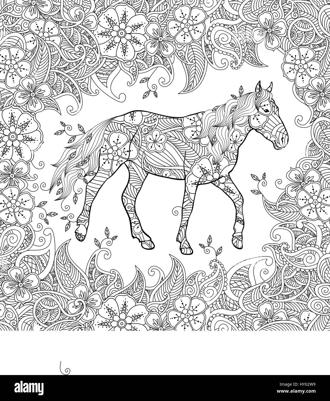 Coloring Page In Zentangle Inspired Style Running Horse On