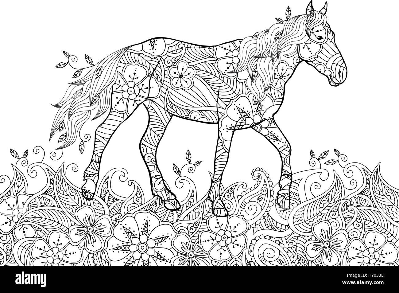 Coloring page in zentangle inspired doodle style. Running horse on ...