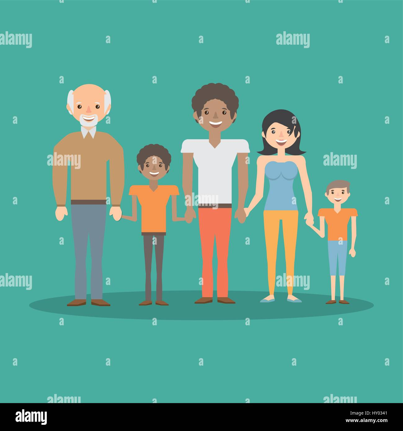 family parents boys and grandpa bonding - Stock Vector